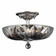 Mansfield Collection 4 Light Chrome Finish and Smoke Crystal Semi Flush Mount Ceiling Light