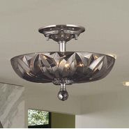 W33142C16-SM Mansfield 4 Light Chrome Finish and Smoke Crystal Semi Flush Mount Ceiling Light