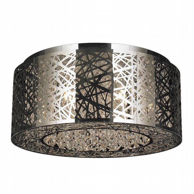 W33143C20 Aramis 9 Light LED Chrome Finish and Clear Crystal Flush Mount Ceiling Light
