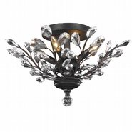w33152f20 Aspen 4-Light Dark Bronze Finish and Clear Crystal Floral Semi-Flush Mount Ceiling Light 20 in. D x 11 in. H  Large