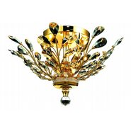 W33152G20 Aspen 4 Light Gold Finish Crystal Semi Flush Mount Ceiling Light