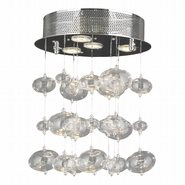 W33153C12 Effervescence 4 Light Chrome Finish and Clear Blown Glass Bubble Flush Mount Ceiling Light