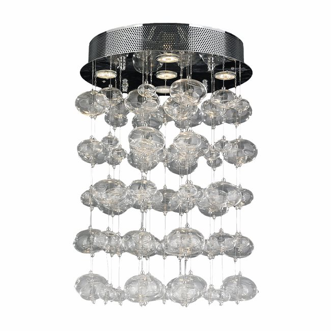W33153C16 Effervescence 5 light Chrome Finish and Clear Blown Glass Bubble Flush Mount Ceiling Light