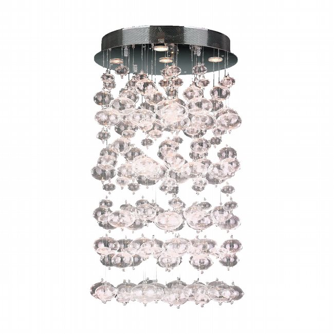 W33153C20-CL Effervescence 7 Light Flemish Brass Finish Crystal Flush Mount Ceiling Light