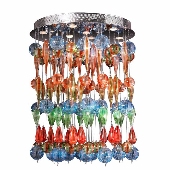 W33153C28-ML Niagara 9 Light Chrome Finish with Multi-colored Blown Glass Flush Mount Ceiling Light - Discontinued