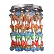 W33153C28-ML Niagara 9 Light Chrome Finish with Multi-colored Blown Glass Flush Mount Ceiling Light