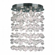 W33153C28 Effervescence 9 light Chrome Finish and Clear Blown Glass Bubble Flush Mount Ceiling Light