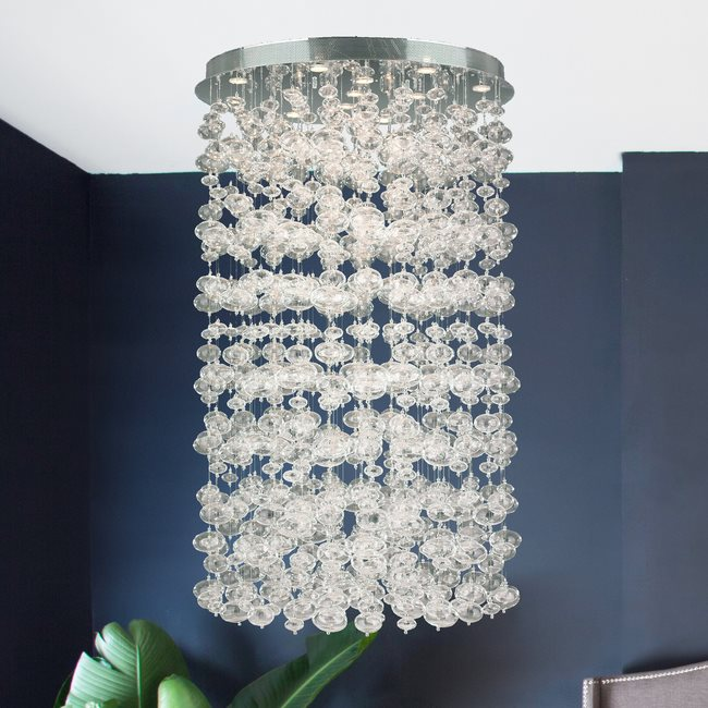 W33153C36 Effervescence 13 Lights Chrome Finish and Clear Crystal Flush Mount Ceiling Light