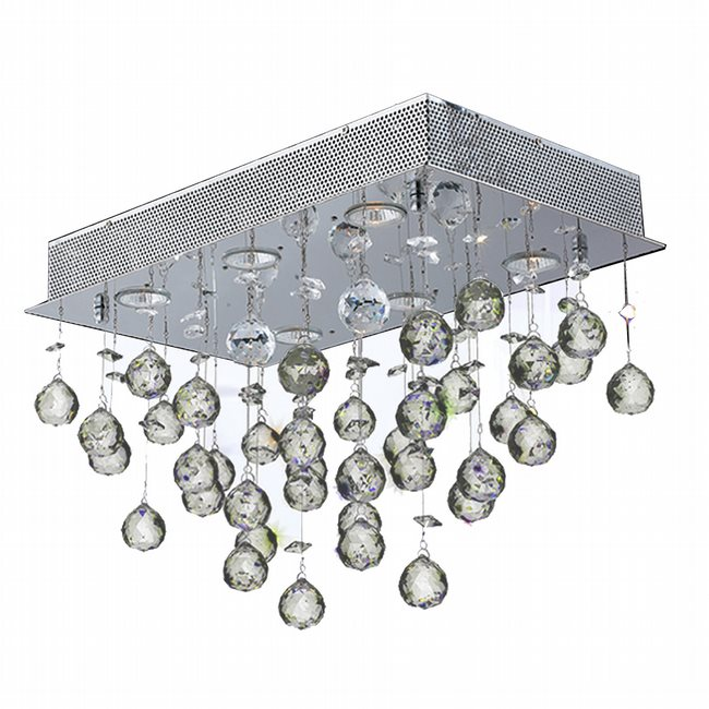 W33224C20 Icicle 6 Light Chrome Finish and Clear Crystal Flush Mount Ceiling Light - Discontinued