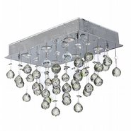 W33224C20 Icicle 6 Light Chrome Finish and Clear Crystal Flush Mount Ceiling Light