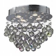 W33231C16 Icicle 4 Light Chrome Finish and Clear Crystal Flush Mount Ceiling Light