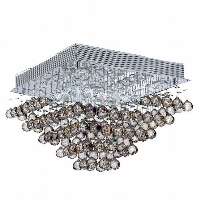 W33244C20 Icicle 5 Light Chrome Finish and Clear Crystal Flush Mount Ceiling Light - Discontinued