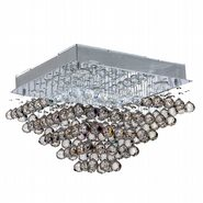W33244C20 Icicle 5 Light Chrome Finish and Clear Crystal Flush Mount Ceiling Light