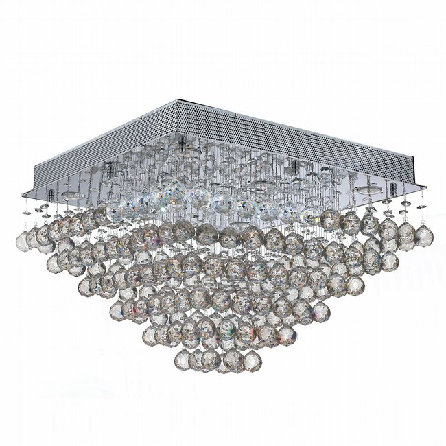 W33245C24 Icicle 8 Light Chrome Finish and Clear Crystal Flush Mount Ceiling Light - Discontinued
