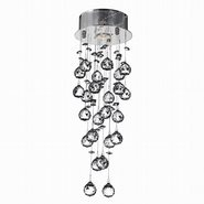 W33258C8 Icicle 1 Light Chrome Finish and Clear Crystal Flush Mount Ceiling Light