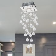 W33259C8 Icicle 1 light Chrome Finish with Clear Crystal Ceiling Light
