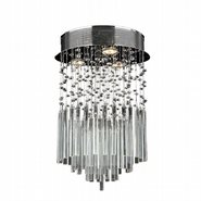 Torrent Collection 3 Light Chrome Finish and Clear Crystal Flush Mount Ceiling Light