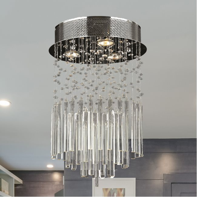 W33260C12-CL Torrent 3 Light Chrome Finish and Clear Crystal Flush Mount Ceiling Light