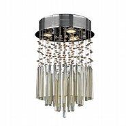 Torrent Collection 3 Light Chrome Finish and Golden Teak Crystal Flush Mount Ceiling Light