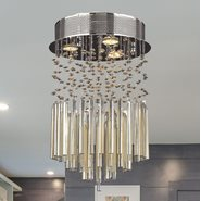 W33260C12-GT Torrent 3 Light Chrome Finish and Golden Teak Crystal Flush Mount Ceiling Light