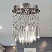 W33260C16-CL Torrent 5 Light Chrome Finish and Clear Crystal Flush Mount Ceiling Light
