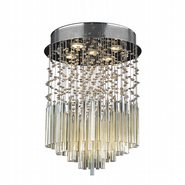 Torrent Collection 5 Light Chrome Finish and Golden Teak Crystal Flush Mount Ceiling Light