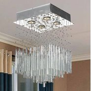 W33261C12-CL Torrent 4 Light Chrome Finish and Clear Crystal Flush Mount Ceiling Light