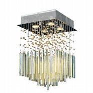 Torrent Collection 4 Light Chrome Finish and Golden Teak Crystal Flush Mount Ceiling Light