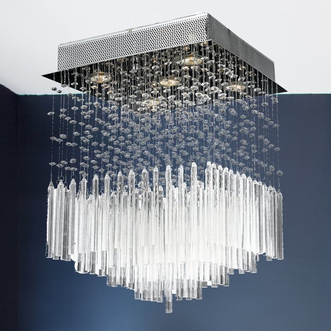 W33261C16-CL Torrent 5 Light Chrome Finish and Clear Crystal Flush Mount Ceiling Light