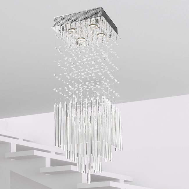 W33262C12 Torrent 4 Light Chrome Finish Clear Crystal Ceiling Light D12x12x36