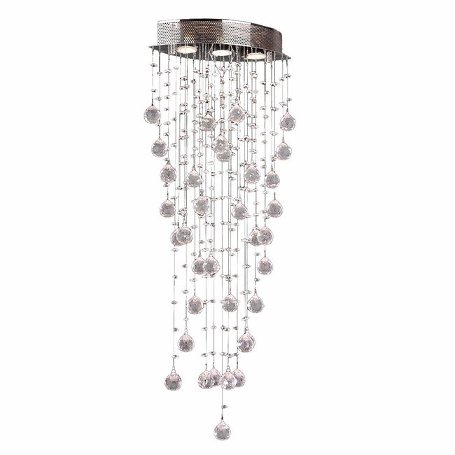 W33263C16 Icicle 3 Light Chrome Finish Clear Crystal Flush Mount