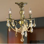 W33302BP13-GT Windsor 3 Light Antique Bronze Finish Golden Teak Crystal Semi Flush Mount