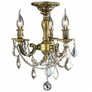 Windsor 3 Light Antique Bronze Finish Golden Teak Crystal Semi Flush Mount