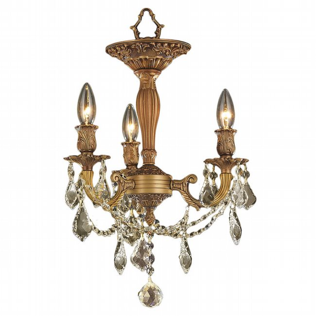 W33302FG13-GT Windsor 3 light French Gold Finish and Golden Teak Crystal Semi Flush Mount