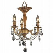 W33302FG13-CL Windsor 3 Light French Gold Finish Crystal Semi Flush Mount