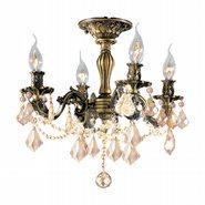 Windsor 4 light Antique Bronze Finish with Golden Teak Crystal Ceiling Light
