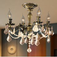 W33303BP17-GT Windsor 4 Light Antique Bronze Finish and Golden Teak Crystal Semi Flush Mount