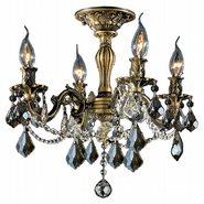 Windsor 4 Light Antique Bronze Finish and Golden Teak Crystal Semi Flush Mount