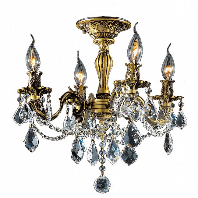 W33303BP17-CL Windsor 4 Light Antique Bronze Finish Clear Crystal Semi Flush Mount