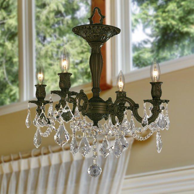 W33303F17-CL Windsor 4 Light Flemish Brass Finish Clear Crystal Ceiling Light