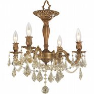 W33303FG17-GT Windsor 4 light French Gold Finish and Golden Teak Crystal Semi Flush Mount