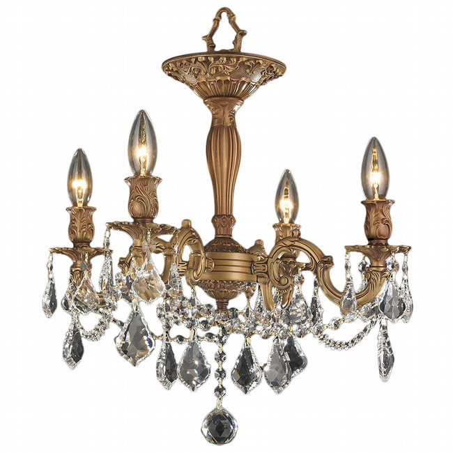 W33303FG17-CL Windsor 4 Light French Gold Finish Crystal Semi Flush Mount