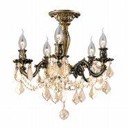 Windsor 5 Light Antique Bronze Finish with Golden Teak Crystal Ceiling Light