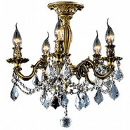 Windsor 5 Light Antique Bronze Finish with Clear Crystal Ceiling Light