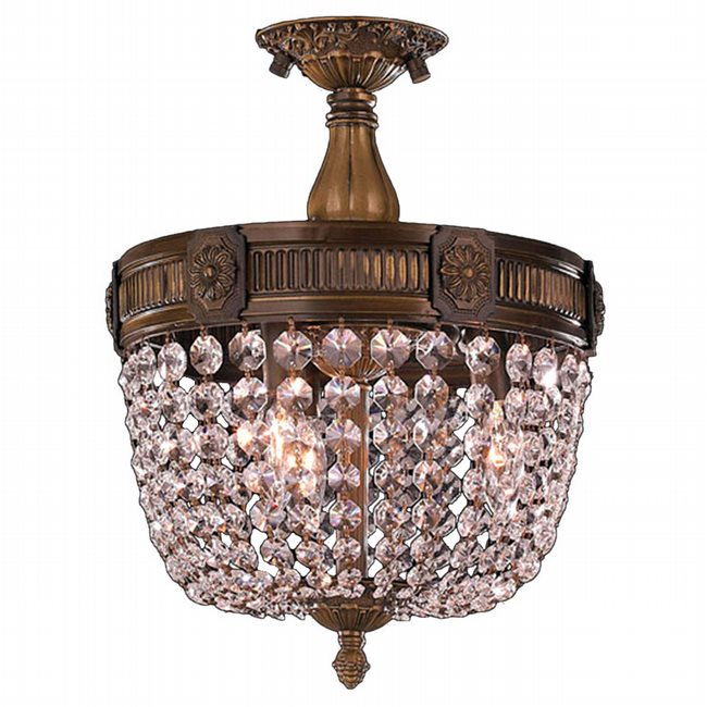 W33353B12-CL Winchester 3 Light Antique Bronze Finish Crystal Semi Flush Mount Ceiling Light