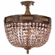 W33353B16-GT Winchester 4 Light Antique Bronze Finish and Golden Teak Crystal Semi Flush Mount