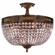 W33353B20-CL Winchester 6 Light Antique Bronze Finish Crystal Semi Flush Mount Ceiling Light