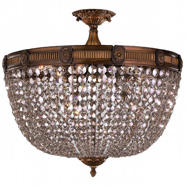 W33353B24-CL Winchester 9 Light Antique Bronze Finish Clear Crystal Flush Mount