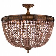 W33353B24-GT Winchester 9 Light Antique Bronze Finish and Golden Teak Crystal Semi Flush Mount Ceiling Light