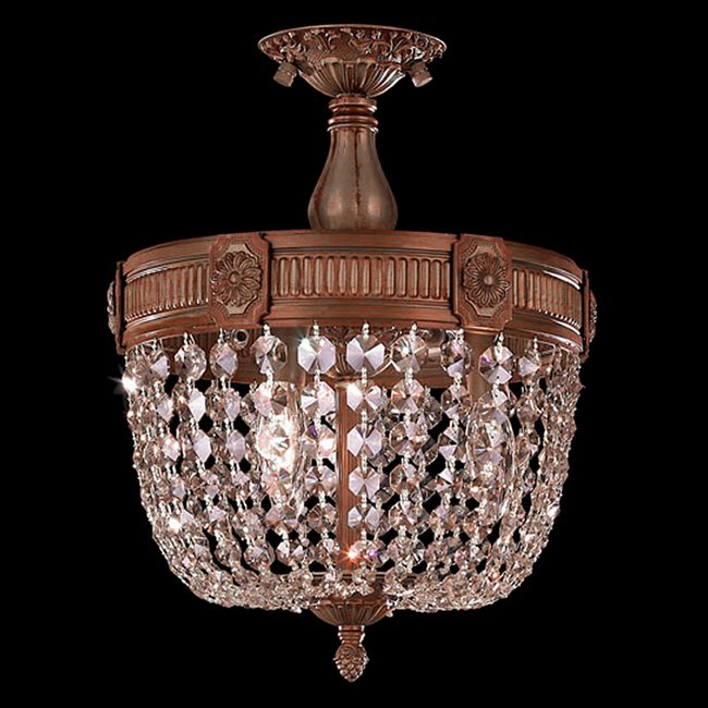 W33353FG12-CL Winchester 3 Light French Gold Finish Crystal Semi Flush Mount